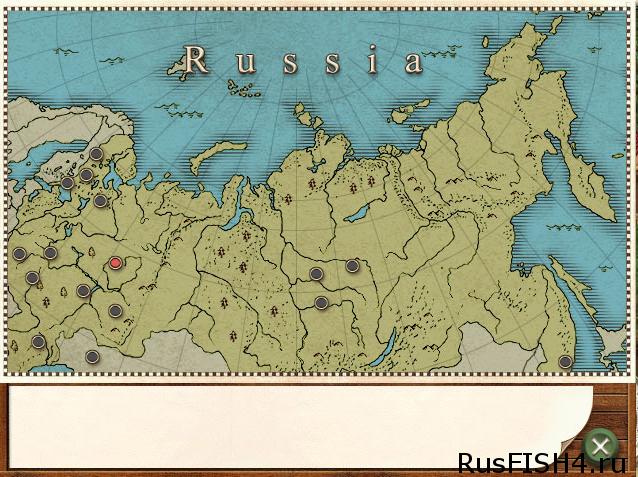 Карта водоемов в Русской Рыбалке 2.0